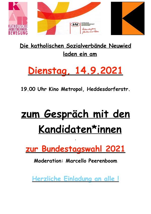 Dekanat Neuwied Plakat Gespräch Bundestagswahl 2021